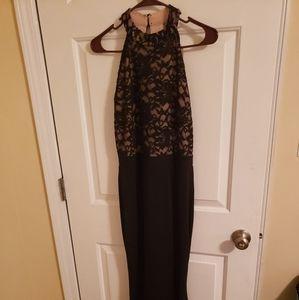 Black/Tan Right thigh-high slit gown